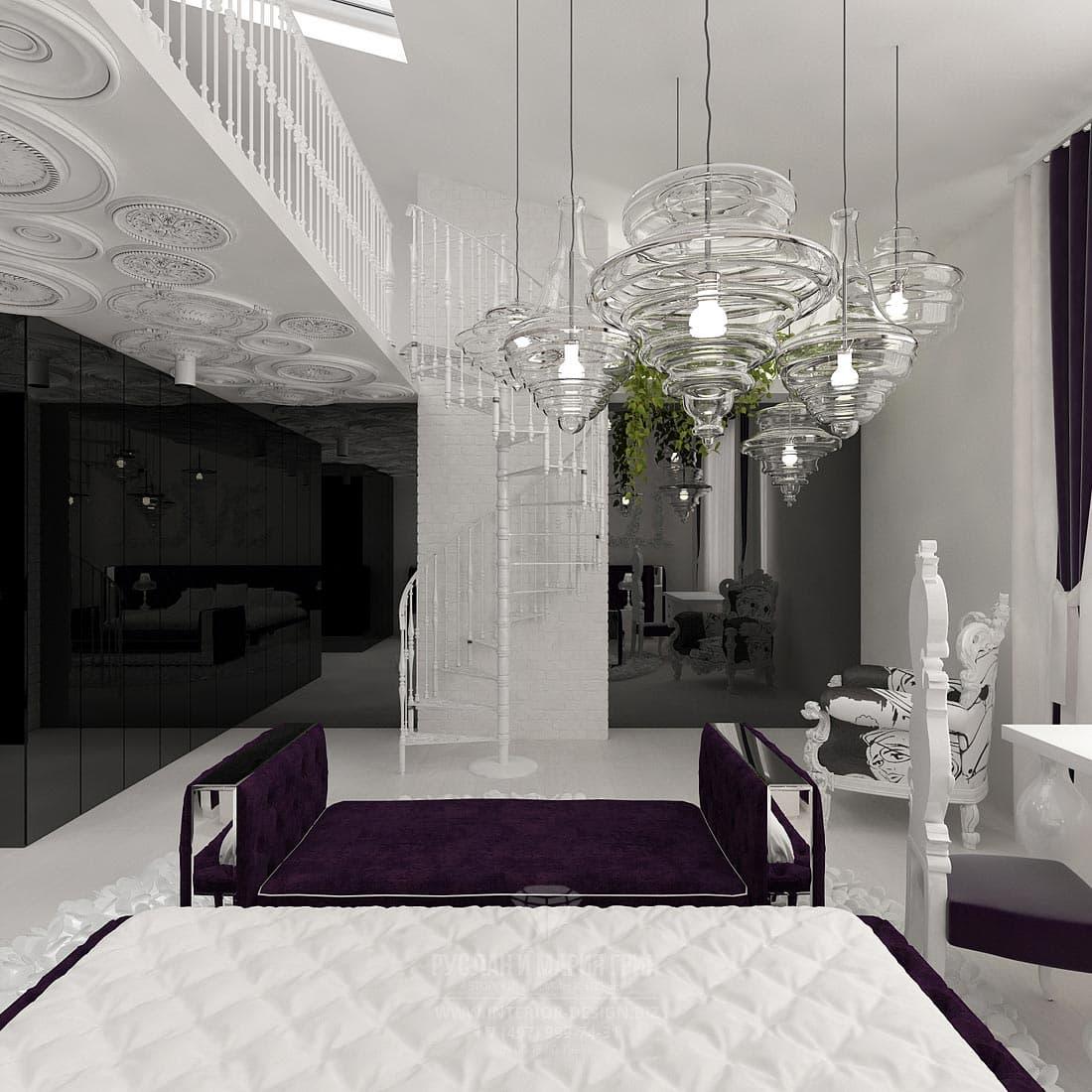 Дизайн детской комнаты в черно-белых тонах с лиловым акцентом