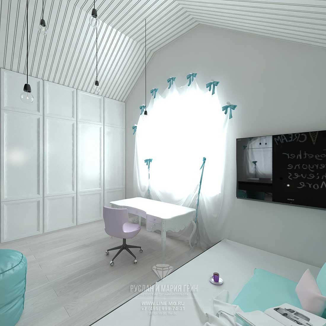 Встроенный белый шкаф в меблировке современной детской