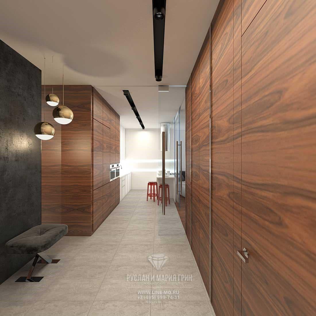 Интерьер коридора в трехкомнатной квартире