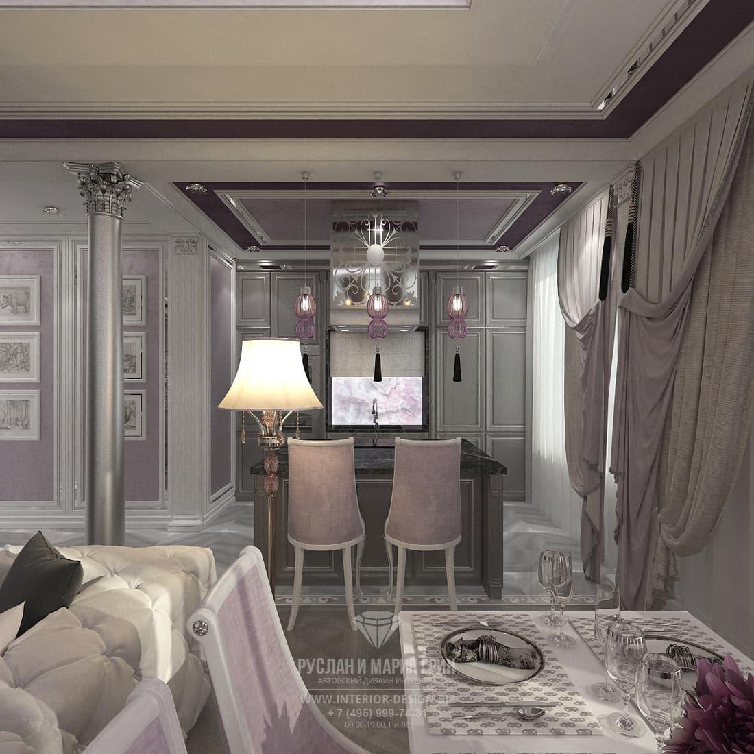 Дизайн интерьера кухни с островом в трехкомнатной квартире