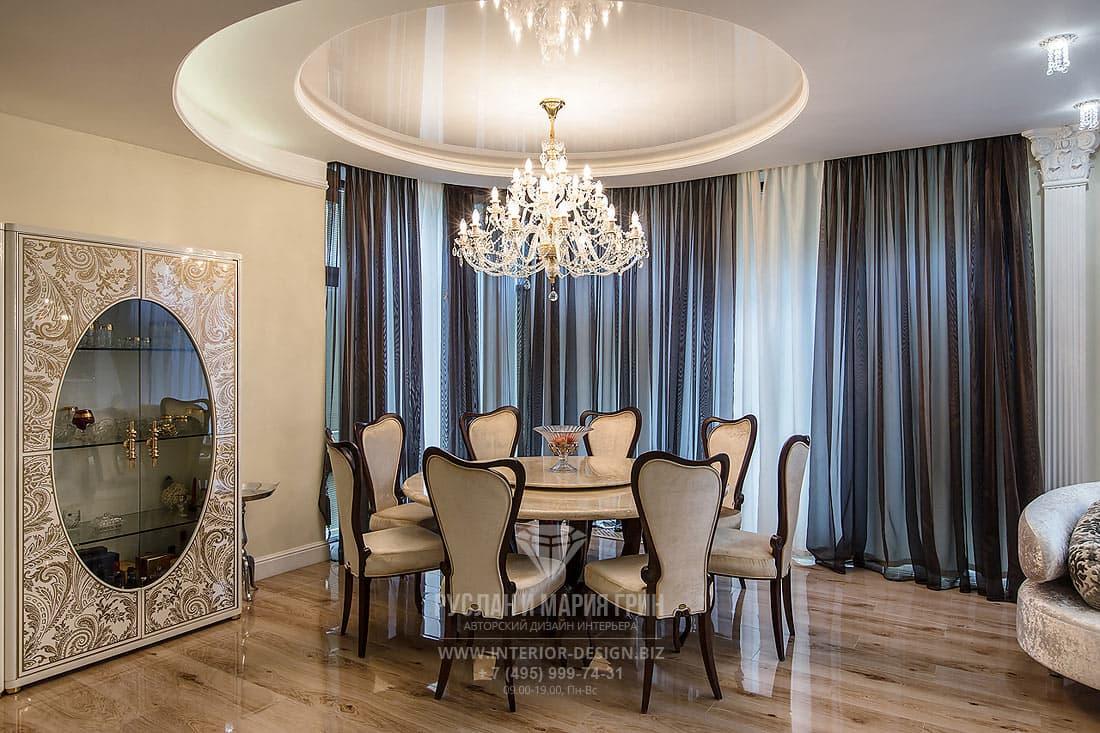 Интерьер столовой в стиле модерн в частном доме