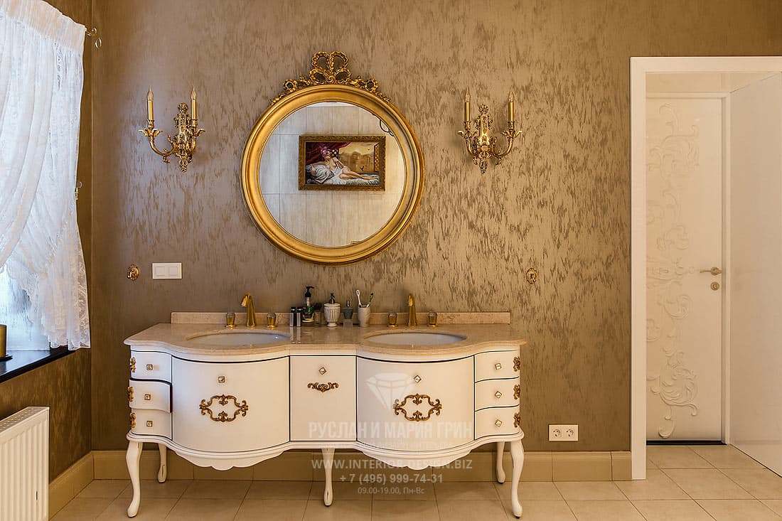 Ванная комната в золотых и бежевых тонах
