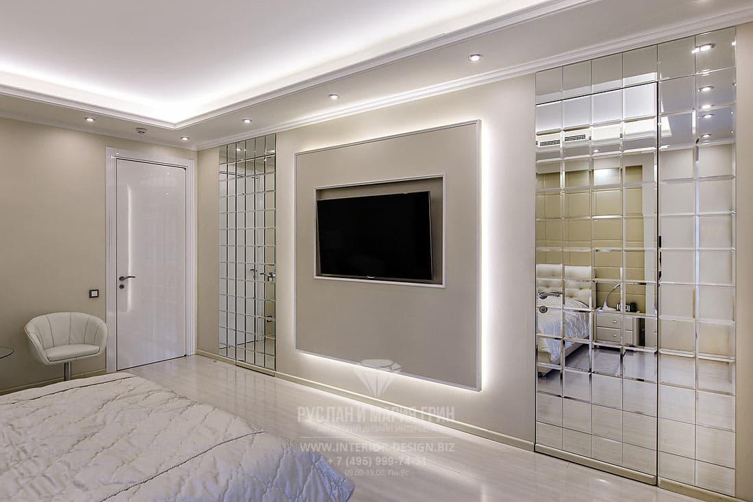 Дизайн спальни с зоной ТВ