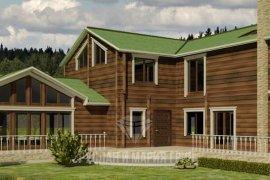 Дизайн фасада большого деревянного дома