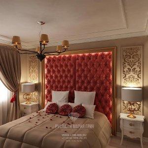 Фото интерьера бежевой спальни с красными акцентами
