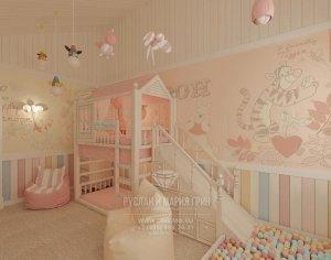 Интерьер детской в оттенках розового и бежевого