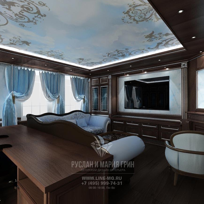 Дизайнерский интерьер кабинета из нашего портфолио