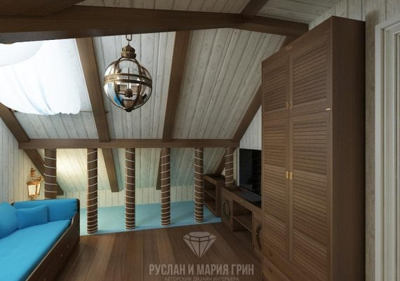 Дизайн интерьера мансарды в стиле арт-деко