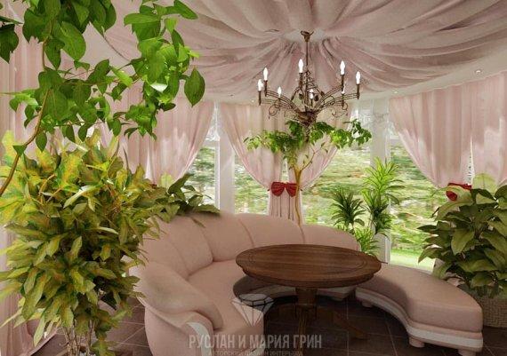 Дизайн интерьера зимнего сада в доме