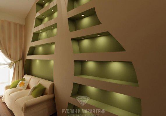Современный дизайн холла в зелёных тонах