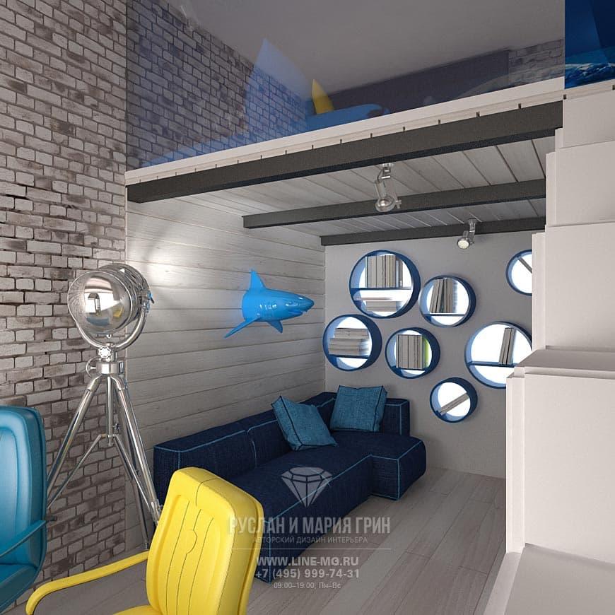 Дизайн синей детской комнаты с антресолью