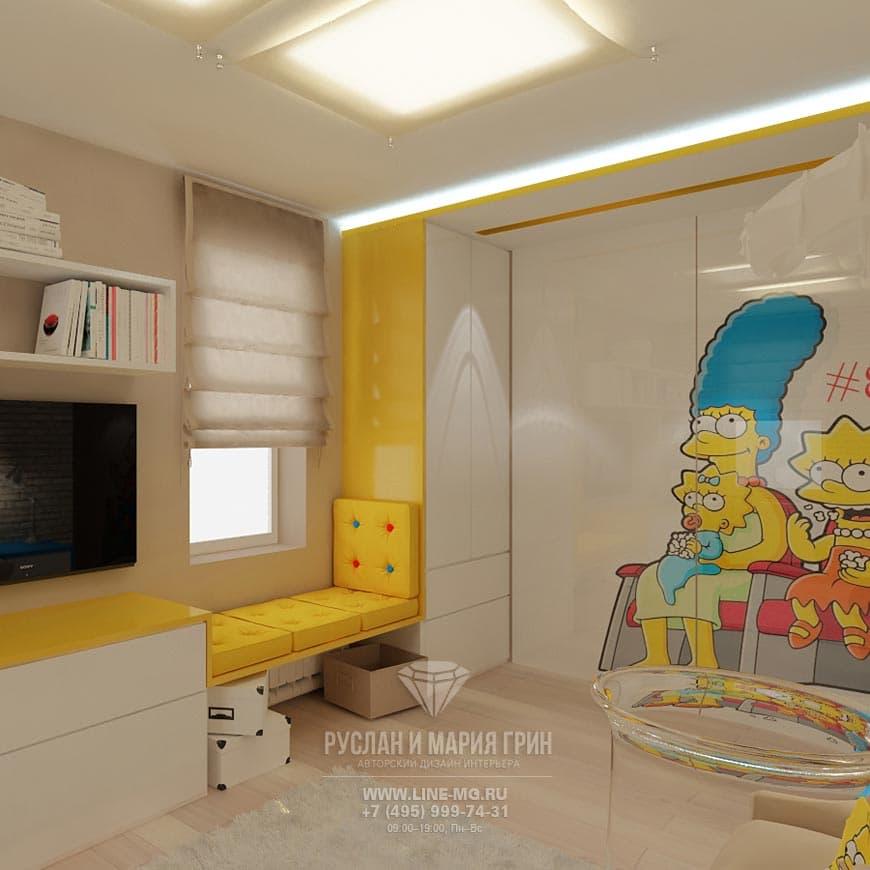 Дизайн детской с Симпсонами в квартире на Якиманке