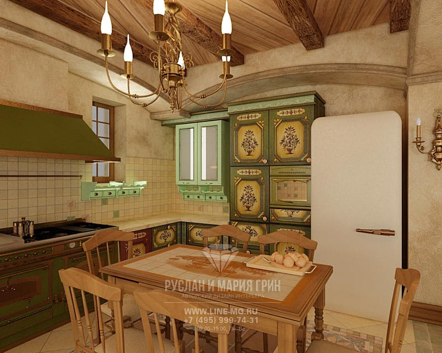 Kitchen interior with retro motifs