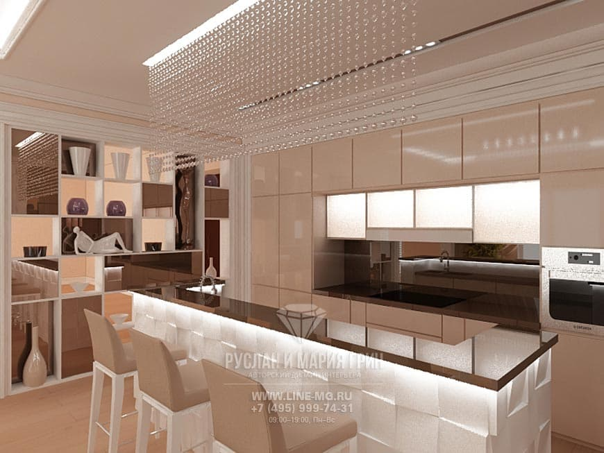 Beige kitchen Interior with a kitchen island