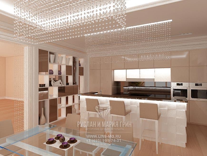 Фото интерьера кухни в бежевом цвете