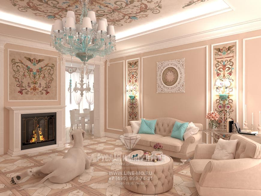 Living room with fireplace design from our portfolio