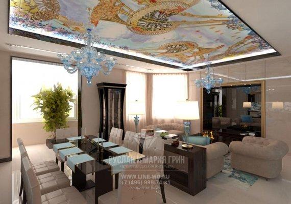 Столовая зона гостиной в стиле модерн