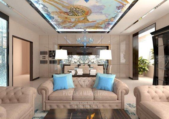 Дизайн кухни-гостиной-столовой с элементами стиля модерн