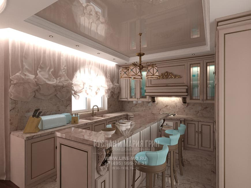 Photo of a kitchen-dining room with a turquoise accent