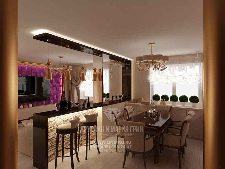 Kitchen-living room interior in a modern style
