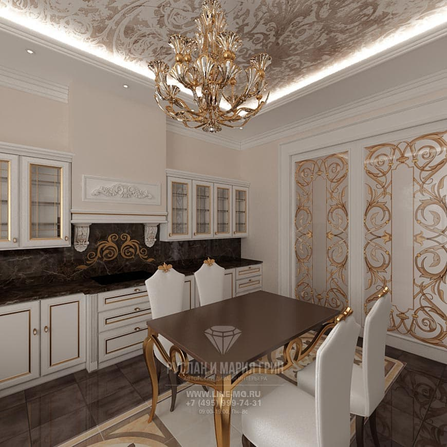 Classical white kitchen interior with golden accents
