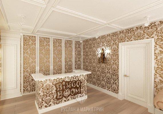 Фото интерьера офиса в современном стиле: золотой узор