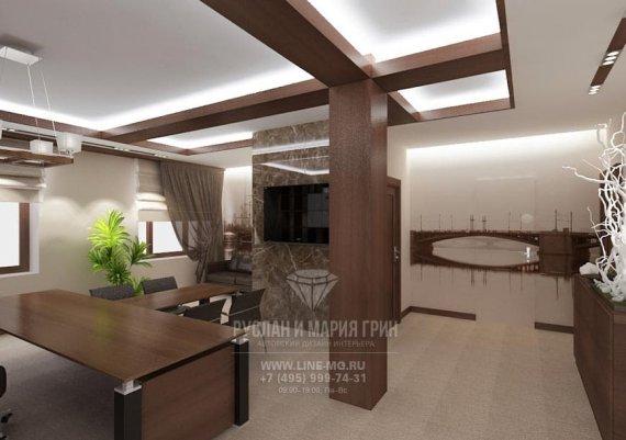 Фото интерьера офиса в современном стиле с деревянной