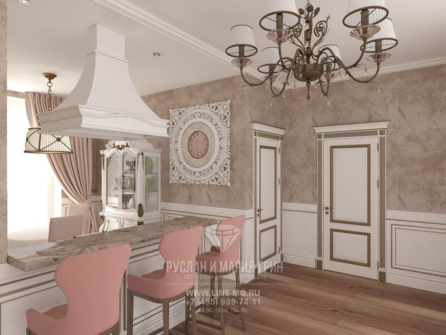 Classical kitchen Interior with a breakfast bar