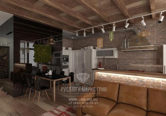 Фото интерьера кухни-гостиной в стиле лофт