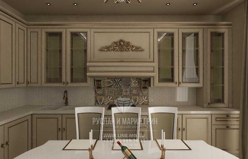 New interior of 2015. Kitchen interior in beige tones