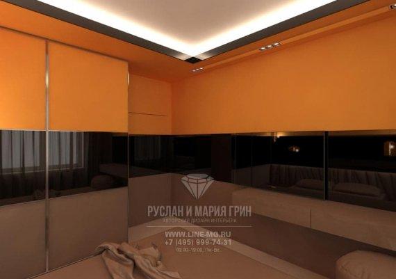 Дизайн интерьера спальни с оранжевыми акцентами