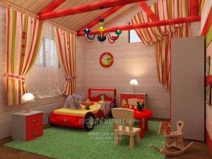 Дизайн детской в доме из бруса