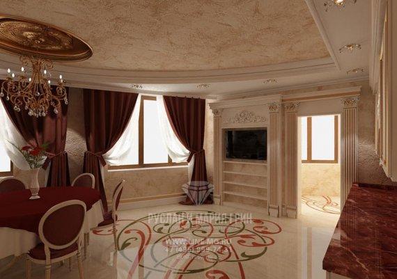 Дизайн интерьера кухни столовой в классическом стиле