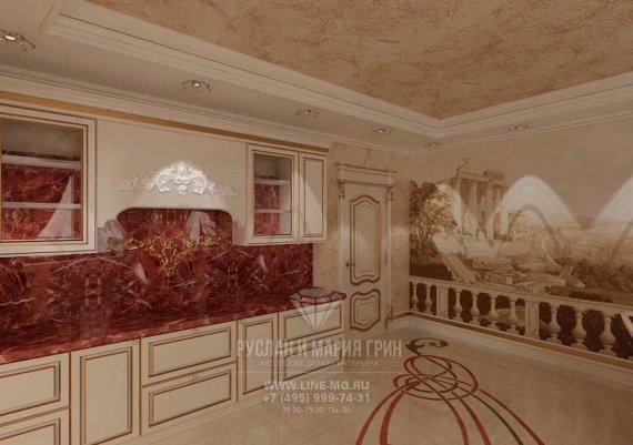 Интерьер классической кухни столовой в квартире