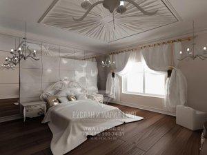 Дизайн спальни в доме на Киевском шоссе
