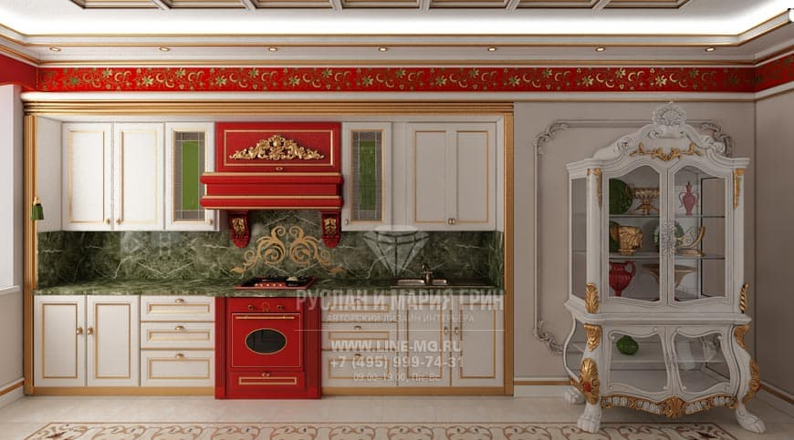 Novelty of 2015. Kitchen design with red and gold accents