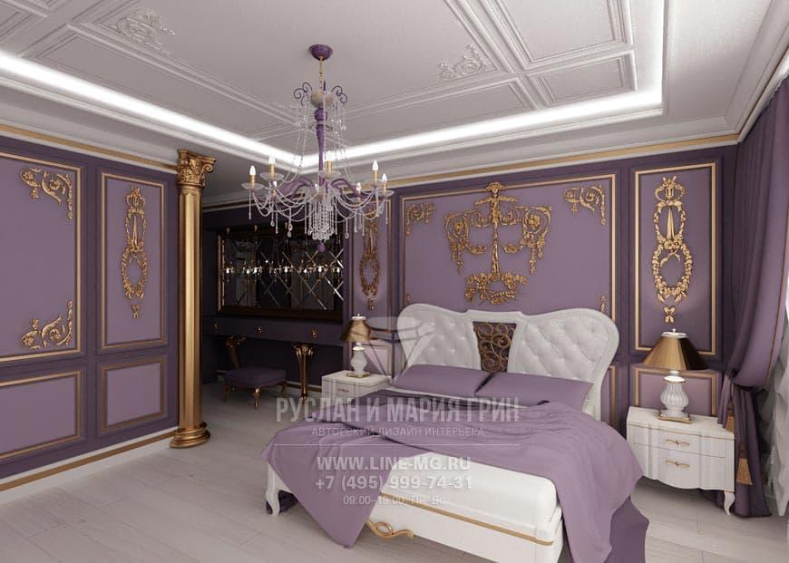 Дизайнерский интерьер спальни в классическом стиле