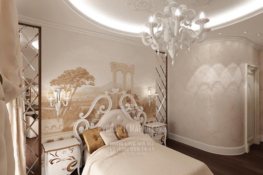 Стена из зеркальной плитки дизайн