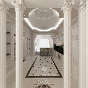 Интерьер белой кухни с колоннами