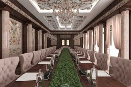 Conference hall design in the house. Pictures of interior