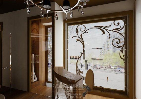 Интерьер первого этажа спа-салона в бежевых тонах с элементами арт-деко и модерна