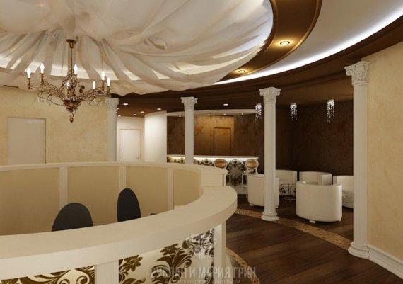 Интерьер второго этажа спа-салона в бежевых тонах с элементами арт-деко и модерна
