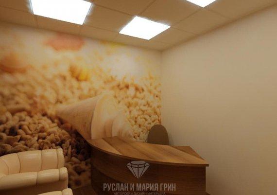 Интерьер кабинета администратора спа-салона в бежевых тонах с элементами арт-деко и модерна