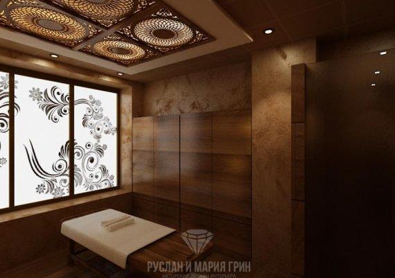 Интерьер кабинета аюрведических процедур в спа-салоне в коричневом цвете с элементами арт-деко и модерна