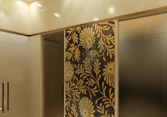 Интерьер сауны в спа-салоне в светлых тонах с элементами арт-деко и модерна