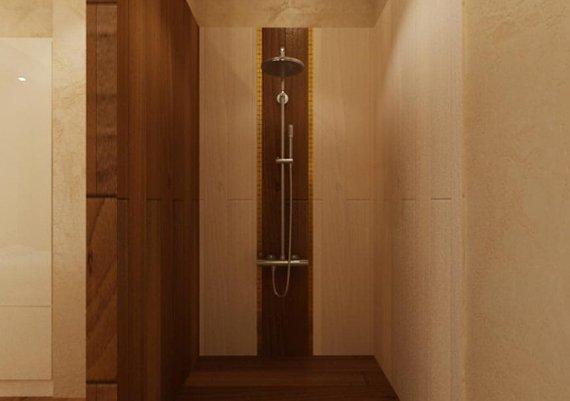 Интерьер душевой в спа-салоне в коричневом цвете с элементами арт-деко и модерна