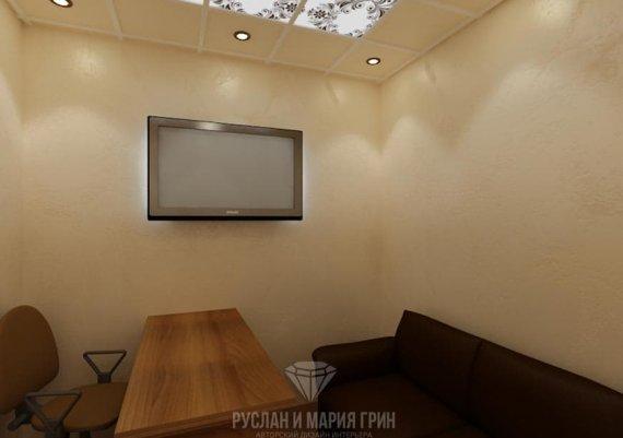 Интерьер кабинета директора спа-салона в кофейные тона с элементами арт-деко и модерна