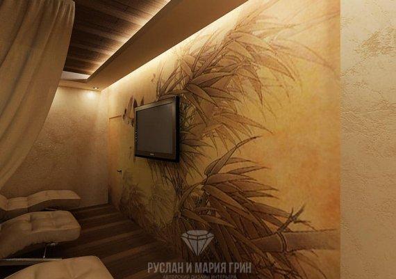 Интерьер комнаты отдыха в спа-салоне в кофейных тонах с элементами арт-деко и экостиля