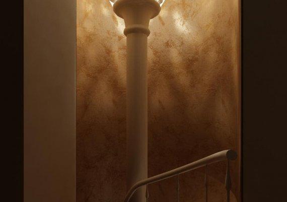 Интерьер лестницы в спа-салоне в коричневом цвете с элементами арт-деко и модерна