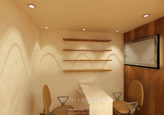 Интерьер кабинета маникюра в спа-салоне в бежевых тонах с элементами арт-деко и модерна